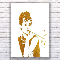 Audrey Hepburn Breakfast at Tiffany's White Gold Art Print Instant Download Printable