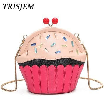 Cute Fun Cakes Modeling Crossbody Bag Novelty Cupcake Shaped Bags Women Panelled Casual Purse Ladies Chain Girl Party Gift Pink