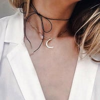 Fashion moon stone wave necklace 161202