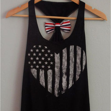 Bow Tie American Flag Print Tank Top