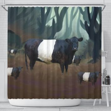 Belted Galloway Cattle (Cow) Print Shower Curtain-Free Shipping
