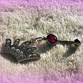Princess Crown Pink Belly Ring,Direct Checkout, Piercing, Belly Ring Jewelry, Navel Ring, Belly Button