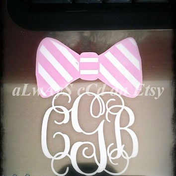 Preppy Bow Monogram vinyl Decal