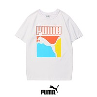 PUMA Summer Trending Women Men Leisure Print Round Collar T-Shirt Top White
