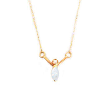Opal and Diamond Wishbone Pendant