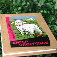 Upcycled Notebook - SHEEP DROPPINGS - Handmade Hard Cover Coptic Journal - Eco Friendly Blank Book - Free Shipping