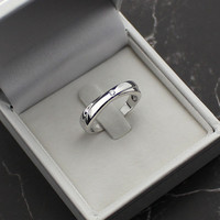 Solitaire Cubic Zirconia Promise Ring for Men 18k White Gold Plated Sterling Silver with CZ Diamond Men's or Women's Wedding Ring Band