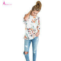 Summer Tops 2017 Newest Design Fashion Casual Flower Printing Three Quarter Butterfly Sleeve Ruffles O-Neck Women Tops