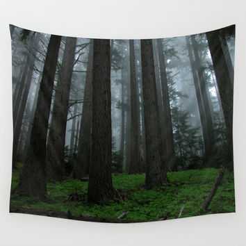 Fog Amongst The Forest Wall Tapestry by BravuraMedia