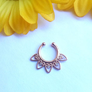 Tribal Septum Hanger Rose Gold Fake Piercing Faux Septum Clip on Piercing