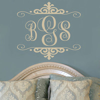 Personalized Three Initial Monogram Vinyl Wall Decal For Master Bedroom Teen Girls Room Or Baby Girl Nursery 22H x 24W MB003