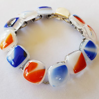 Red White and Blue Patterned Bracelet, Fused Glass Links, Handmade in USA