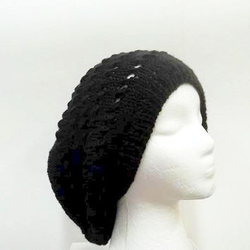 Black slouch hat  with eyelets hand knitted hat large size 5258