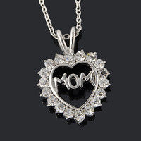 Mom Fully-Crystal Heart Pendant Necklace Mother's Day Gifts for mother Sweater Chain Necklaces