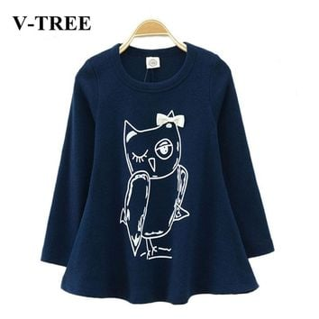 V-TREE 2015 NEW spring girl dress full sleeve fashion cotton baby girl casual dress girls cartoon owl baby clothes