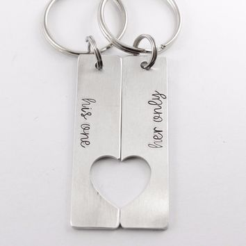 """""""his one"""" """"her only"""" - Couples Keychain Set"""