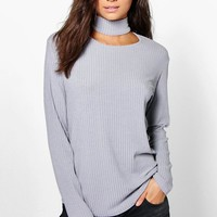 Tall Sash Soft Rib Choker Long Sleeve Top | Boohoo