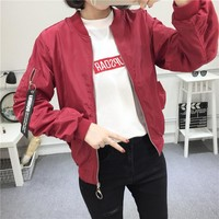 """Tommy Jeans"" Women Casual Fashion Letter Pattern Patch Zip Long Sleeve Baseball Clothes Loose Cardigan Coat"