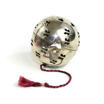 Large Tea Ball, Made in India - Silver Metal Hinged Ball for Tea Leaf Infusing or Repurposed Scent Sachet Holder - Vintage Home Decor