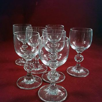 Claudia Bohemia Crystal Shot Glasses Faceted Ball Stems