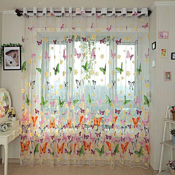 2017 Hot 270cm X 100cm Butterfly Printed Tull Voile Door Window Sheer Screen Curtains Panel Assorted Drapes For Home Decoration