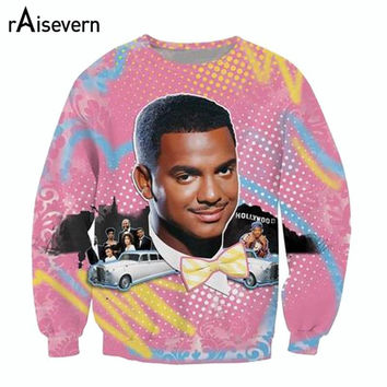 Raisevern new fashion 3D hoodies So Fresh Carlton print crewneck sweatshirt Alfonso Ribeiro Fresh Prince of Bel Air sweats tops