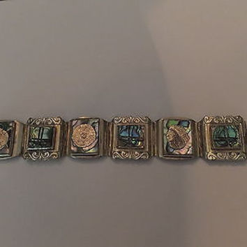 Vintage Mexican Silver Gold Coin Mayan Abalone Bracelet  Mexico Jewelry