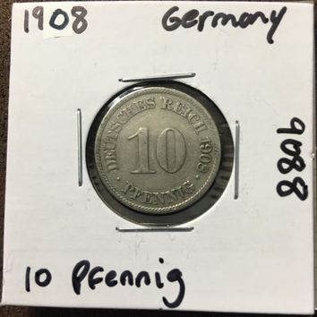 1908 German Empire 10 Pfennig Coin 9088