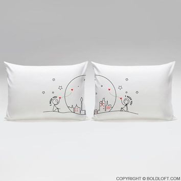 Miss Us Together™ Couple Pillowcases
