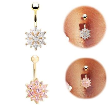 ac DCCKO2Q High quality Medical Steel Crystal Rhinestone Belly Button Ring Dangle Navel Body Jewelry Piercings Tassel Free shipping