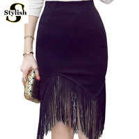 Pencil Skirt High Waist Summer New 2016 Sexy Tassel Patchwork Black Sheath Womens Skirts Plus Size XXXXXL Ladies Office Clothing
