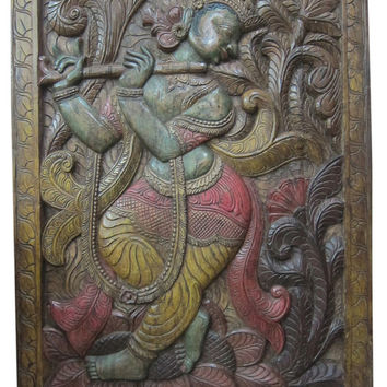 "India Carving Door Panel Dancing Lord Krishna Hand Carved Wall Panels 72"" X 36"""