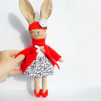 Bunny Rabbit doll Stuffed Animal Plush doll Bunny toy handmade Animal Baby doll embroidered face Child Friendly