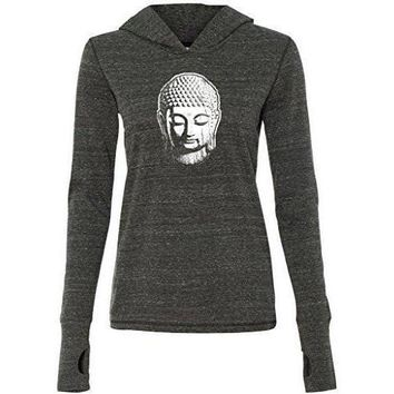 Womens Little Buddha Head Lightweight Hoodie
