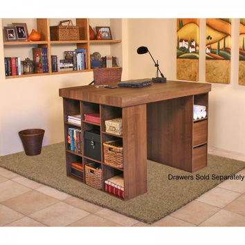 "Project Center Version 2 (top plus 1 bookcase and 1 3-Bin Cabinet) (Walnut) (38.5""H x 55""W x 41""D)"