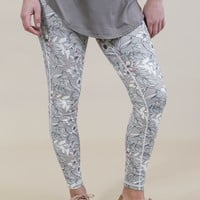 High Waisted Poppy Print Leggings, Grey
