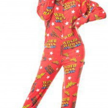 WONDER WOMAN - Warner Brothers - Pajamas Footie PJs Onesuit One Piece Adult Pajamas - JumpinJammerz.com