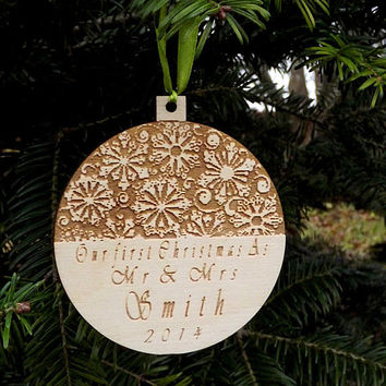 Our First Christmas as Mr and Mrs Personalized Christmas Ornament Our First Christmas Rustic Home Decor Gift Just Married Holiday Ornament