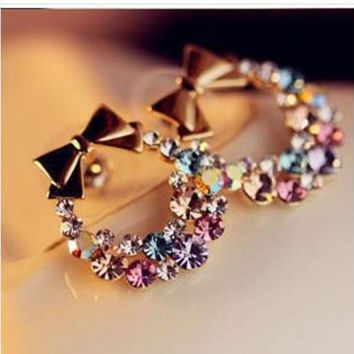 DCCKU62 Multicolor Diamond Bowknot Earrings