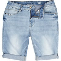 River Island MensLight wash skinny stretch denim shorts