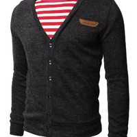 H2H Mens Basic Cardigan with Point Leather