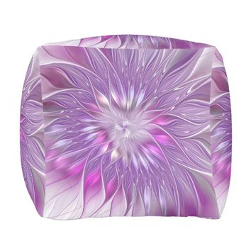 Pink Purple Flower Passion Abstract Fractal Art Pouf