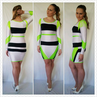 Bodycon Neon Dress with Fringe at Shoulders by TatOOsiK on Etsy