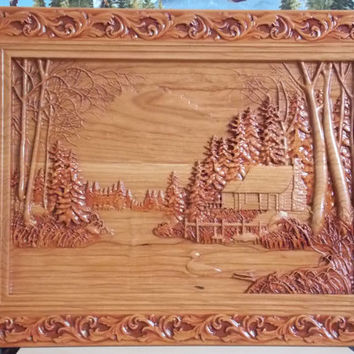 Cabin Wall Decor - Log Cabin Wood Carving - Duck Hunting Wall Hanging - Framed Log Cabin Wall Decor - Log Cabin in the Woods, Wood Wall Art
