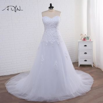 ADLN Elegant Corset Plus Size Mermaid Wedding Dresses 2018 White/Ivory Tulle Applique Bridal Gown with Lace-up Vestidos de Novia