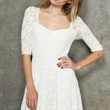 Cutout Lace Sleeve A-Line Dress