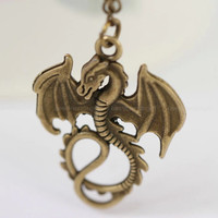 Dragon pendant, retro bronze flying dragon, vintage cute dragon ,gift for BF and lover