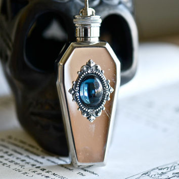 Mystic Falls Stainless Steel Coffin Flask Key Chain - VIctorian Goth Swarovski Montana Cameo - Made in USA stamping