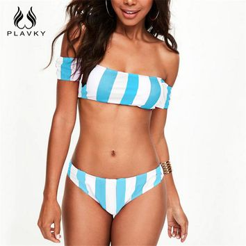 PLAVKY 2017 Sexy Rainbow Colorful Striped Bandeau Off Shoulder Biquini Swim Wear Bathing Suit Swimsuit Swimwear Women Bikini Set