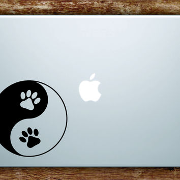 Paw Print Yin Yang Laptop Decal Sticker Vinyl Art Quote Macbook Apple Decor Dog Animal Puppy